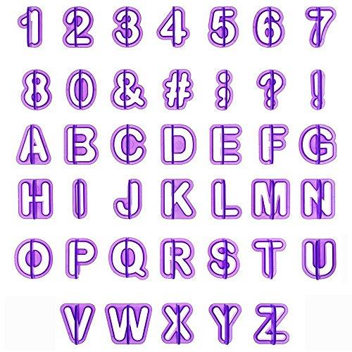 Fondant Ausstecher, HOOMIL Buchstaben Ausstechformen Alphabet Zahlen Auswerfer Stempel Tortendeko Kuchendekoration Set (40 Teilig)