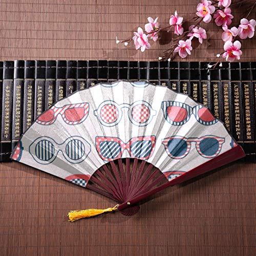 EIJODNL Chinesische Fans Für Frauen Tiere Nette Sonnenbrille Gesicht Mit Bambusrahmen Quaste Anhänger Und Stofftasche Hand Fans Für Frauen Hand Gefaltet Fan Chinesischen Fan Bambus