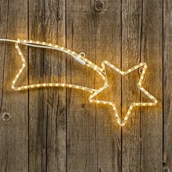 Stella cometa 65 cm in tubo luminoso, 72 led bianco caldo, stelle luminose, decorazioni natalizie, luci di natale