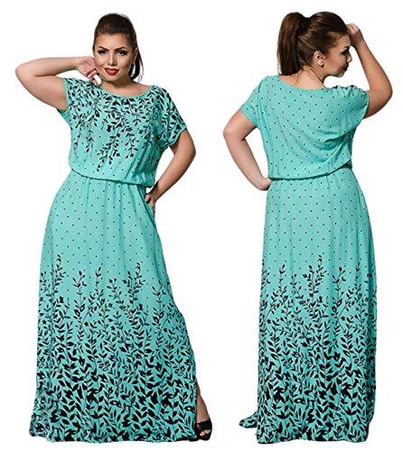 Damen Übergröße Sommer Kleid Drucken Kleid Elegant Etuikleid abendkleid  Kleider Grün