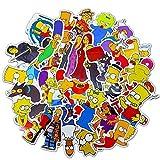 Zhenzhiao 50PCS Simpson Stickers Garçon et Fille Autocollant Ordinateur Portable Ordinateur Chambre Garde-Robe Voiture Skateboard Moto Vélo Téléphone Mobile Baggage Guitare DIY Décalque - H01