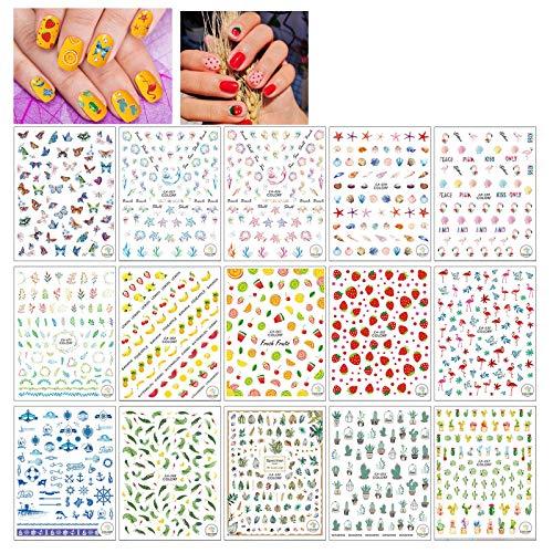 Globaldream 15 Blatt Sommer Nail Art Sticker 3D Sticker selbstklebend Flamingo Kaktus Früchte Ocean Leaf Butterfly Strawberry -