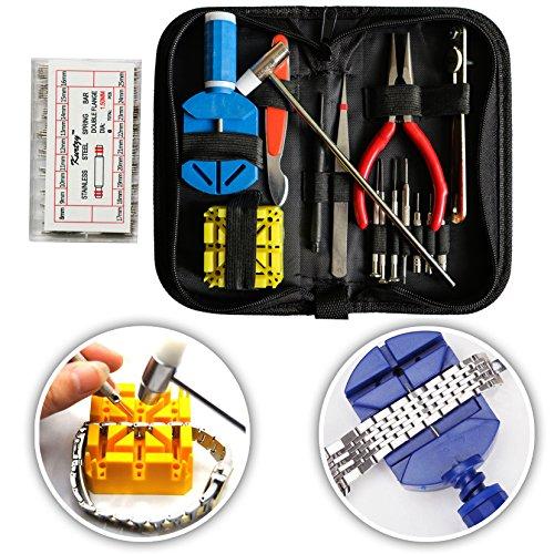 Kurtzy 285 Piezas Kit de Reparación de Reloj con Estuche - Kit de herramientas de reparación de reloj con Barra de Resorte, Pasadores Reloj, Abridor de Relojes y más - Relojero Herramientas
