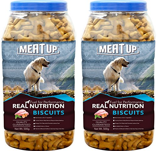 Meatup Chicken Flavour Real Chicken Biscuit, Dog Treats,500g (Buy 1 Get 1 Free) 619JT37hjFL