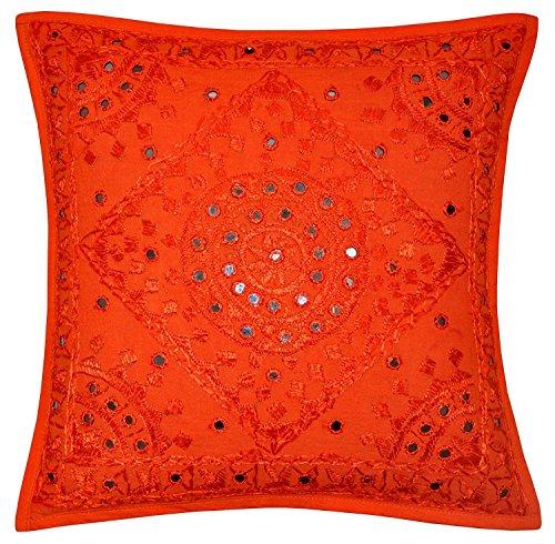 61cm Big Orange Spiegel bestickt Dekorative Sofa Kissen Kissen, Überwurf Bezug, Boho