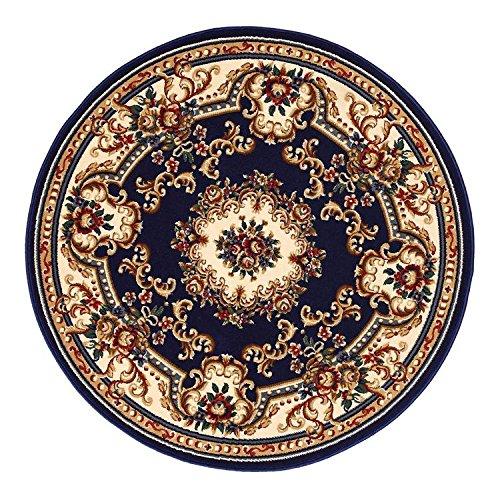Runde Teppich Wohnzimmer Continental Garten Schlafzimmer Schlafsofa Restaurant Teppich Computer Swivel Rattan Stuhl Anti-Rutsch-Matte (Blau),100*100