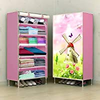 COROID Digital Printed Multipurpose 6 Shelve Baby Wardrobe, Foldable, Collapsible Fabric Wardrobe Organizer for Clothes…