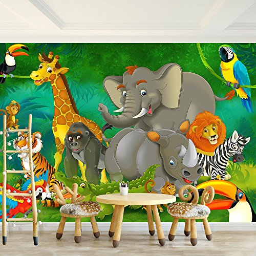 *Fototapete Kinderzimmer Zoo Vlies Wand Tapete Dekoration Wandbilder XXL Moderne Wanddeko – 100% MADE IN GERMANY – Elefant Löwe Affe Runa Tapeten 9041010a*