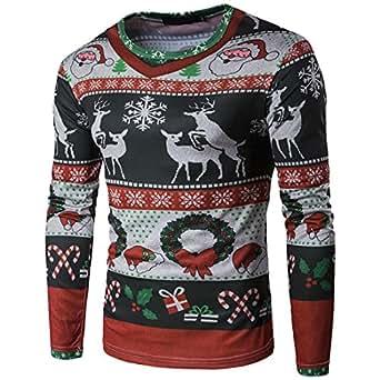 Maglia Maglione Uomo, feiXIANG Uomo autunno inverno Xmas Natale Stampa Top uomo a maniche lunghe T-shirt camicetta-poliestere- O-collo (A, S)