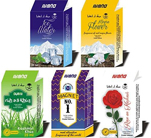 5PC Set of Branded Cooler Perfume Khus, Rose, Mogra, Magnet, Ice water 125ml