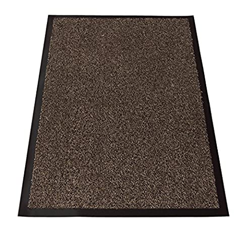 Cotton Large Small Non Slip Dirt Barrier Entrance Floor Mat Office Door Rug (Dark Brown Mix, 100x150cm