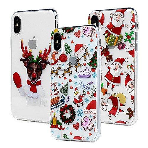 3x Cover iPhone X, Custodia Silicone Morbido Trasparente TPU Flessibile Gomma design IMD - MAXFE.CO Case Ultra Sottile Cassa Protettiva per iPhone X - Natale 3 Natale 2