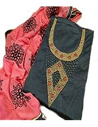 Black & Pink Chanderi Khatli HandWork Dress Materials With Embroidered Dupatta