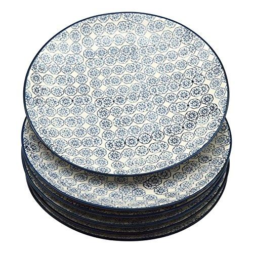 Grandes assiettes ornées de motifs - 255 mm - imprimé fleur bleue - lot de 6