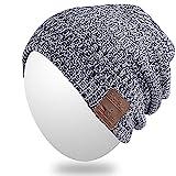 Bluetooth Bonnet, Qshell hiver doux et chaud Trendy Cap avec casque sans fil casque écouteurs haut-parleur stéréo Mic mains libres pour Lifestyle Outdoor Sport, soutien Iphone Android, Cadeaux de Noël - Gris