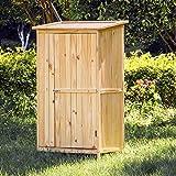 Wiltec Gartenschrank Holz Naturfarbe 1 Tür 91x60x155cm Werkzeugschrank Garten
