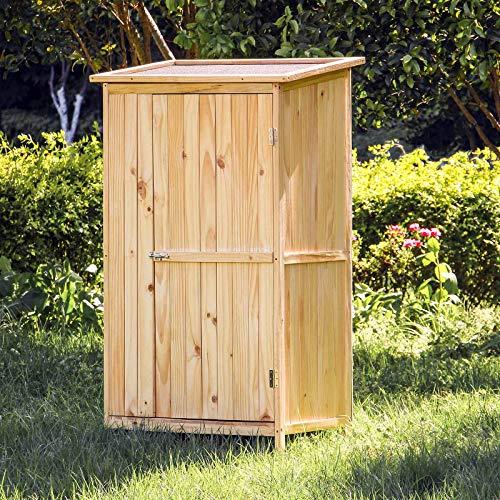 Wiltec armadio porta attrezzi a 2 ante da esterno legno neutro ripostiglio da giardino