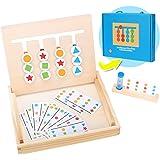Jouets en Bois 4 Couleurs Boîte à Cadeau,Puzzle Montessori Enfant,Jeux Educatif 3 Ans,Puzzle de tri Logique,Jouets de Classif