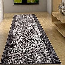 Alfombra De Pasillo Moderna Colección Fiesta - Color Gris Negro De Diseño Piel De Animales - Mejor Calidad - Varias Dimensiones S-XXXL 70 x 300 cm