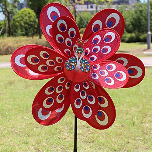ECMQS doppel große pfau Pailletten windmühle kreative dekorative windmühle, Outdoor Dekoration Kinder pädagogisches Spielzeug (Rot)