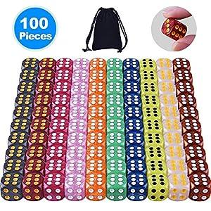 AUSTOR 100 Piezas Dados de 6-Caras (con una Bolsa) 10 Perla Colores x 10 Dados de Bordes Redondeados para Dungeons and…
