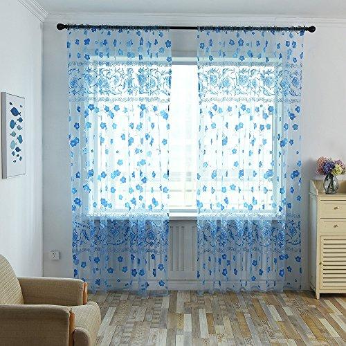 Gaddrt® 1pannello tenda della finestra floreale sciarpa sheer voile tulle porta finestra tenda drappo mantovane divisore, blue, 200_x_100_cm