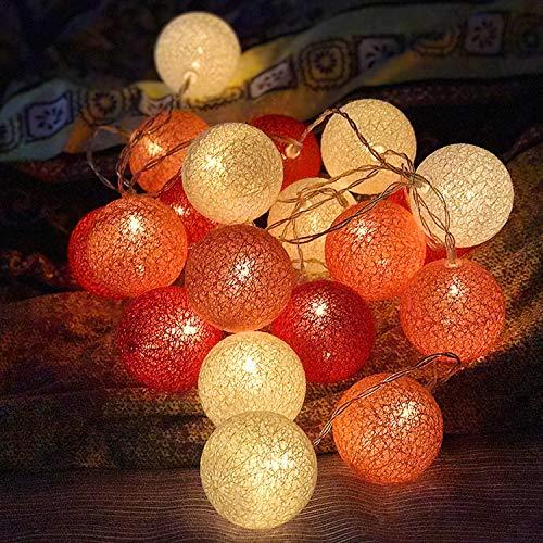 YAMAIDE 20 LED Baumwolle Ball String String Hochzeit Urlaub String Nordic Familie Net Licht Flash Schlafzimmer Dekoration Lampe 3 M Batterie Stil (Flash Baumwolle Bälle)
