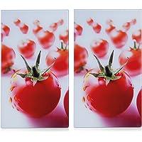 Zeller 26270 Set 2 piastre/taglieri in vetro per piano cottura in vetroceramica, con pomodori, 52x30 cm