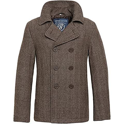 Brandit Men's Pea Coat Brown Herringbone size M