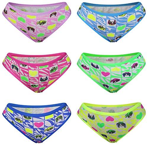 6 PACK Kinder Mädchen Baumwolle Pantys Boxer Unterhose Panty Unterwäsche Boxershorts Slips Schlüpfer 2-14 Jahre Größe 104-164 (146-152 (11-12 Jahre), Modell 6) (Mädchen 6 Unterwäsche)