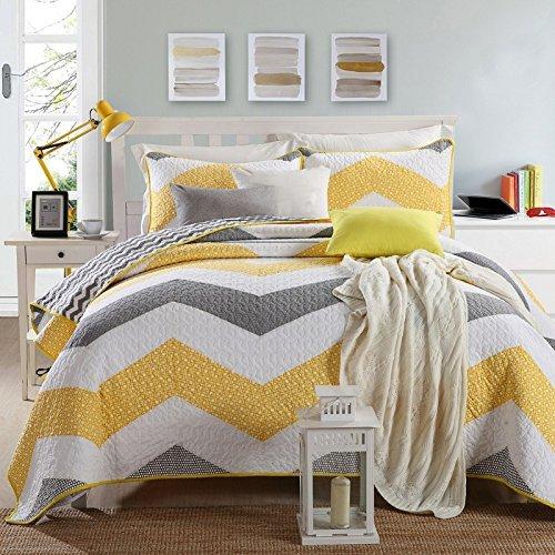 Queen Gesteppte Tagesdecke (3tlg.Baumwolle Sommerdecke Bettüberwurf Tagesdecke amerikanischen Bett Decken Bettdecke Außenhandel Quilting gesteppte 230x240cm weiß mit gelb und grau Streifen Bettwäsche)