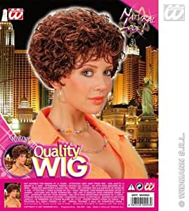 Ladies Short Brown Wig Curly Perm Whitney Houston Fancy Dress