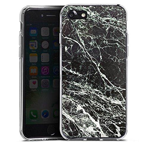Apple iPhone X Silikon Hülle Case Schutzhülle Marmor Look Schwarz Black Marble Marmoriert Silikon Case transparent