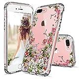 MOSNOVO iPhone 8 Plus Hülle, iPhone 7 Plus Hülle, Blossom Blühen Blumen Muster TPU Bumper mit Hart Plastik Hülle Durchsichtig Schutzhülle Transparent für iPhone 7 Plus/iPhone 8 Plus (Floral Garden)