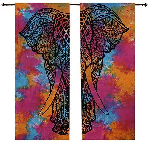 New startete Mandala Baumwolle Indian Elephant Tapisserie Tür Vorhang Gardinen Bohemian Tuch Balkon-Set ROOM DECOR Vorhang, Vorhang Volants Raumteiler 2PC Panel Set, ombre-mandala wall-hanging- - Vorhang Rod Hanging