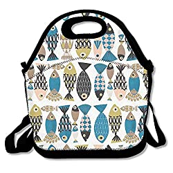Picnic Bag.K Tropical Fishs Insulated Lunch Bag Picnic Lunch Tote
