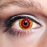 KwikSibs farbige rote Kontaktlinsen Dämonenaugen 1 Paar (= 2 Linsen) weiche Funlinsen inklusive Behälter, K537 (Stärke / Dioptrie: 0 (ohne))