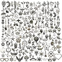 Youdiyla 200 Mixed Charms Collection, Antique Silver Tone, Charms Metal Pendant Craft Supplies Findings for Crafting Necklace Bracelet Jewelry Making HM332