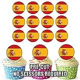 Spanien Flagge–24Essbare Cupcake Topper/Geburtstag Kuchen Dekorationen–Einfache vorgeschnittenen Kreise