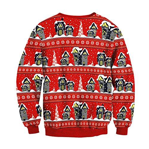 Charmley Femme Unisexe Pull Noël Imprimé 3D Animaux Sweatshirt Col Rond Automne-Hiver Père de Noël Blouse Tops Casual Mode 012
