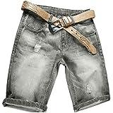 AITESEN Pantaloncini Jeans Allentati da Uomo Blu Chiaro W28-W44