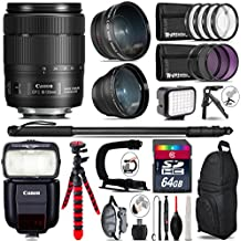 Canon 18-135mm Is USM Lens + Canon Speedlite 430EX III-RT + 0.43X Wide Angle Lens + 2.2X Telephoto Lens + LED Kit + Video Stabilizing Handle + UV-CPL-FLD Filters - International Version
