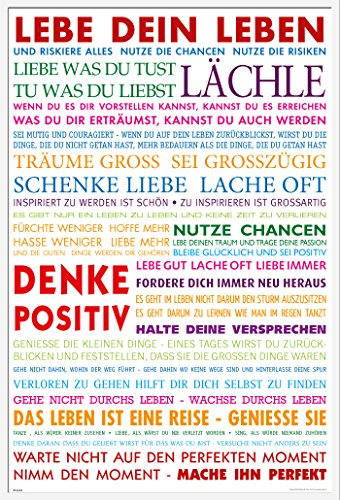 empireposter Motivational - Lebe Dein Leben Bunt Motivations Poster Plakat Druck - Grösse 61x91,5 cm + Wechselrahmen, Shinsuke® Maxi Kunststoff Weiss, Acryl-Scheibe