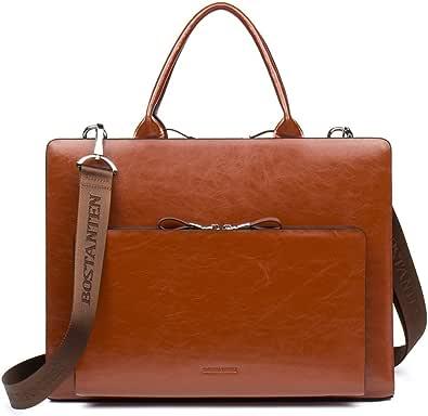 BOSTANTEN Herren/Damen Leder Aktentasche 15 Zoll Laptoptasche Businesstasche Vintage Schultertasche Umhängetasche Vintage Braun