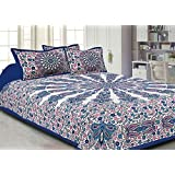 V Home Elegance Jaipuri Tapestry Cotton Double King Size Bedsheets With Pillow Cover - Blue