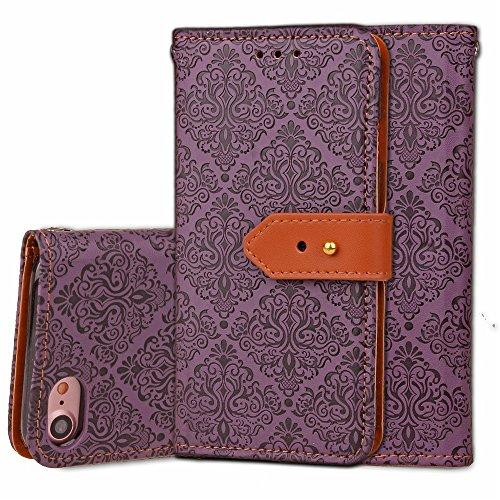 Für Apple IPhone 7 Fall-Abdeckung Europäisches Wandgemälde-Art geprägtes Druck-Blumen-Muster PU-lederner Mappen-Kasten mit Halter u. Foto-Rahmen u. Karten-Schlitzen ( Color : Purple ) Purple