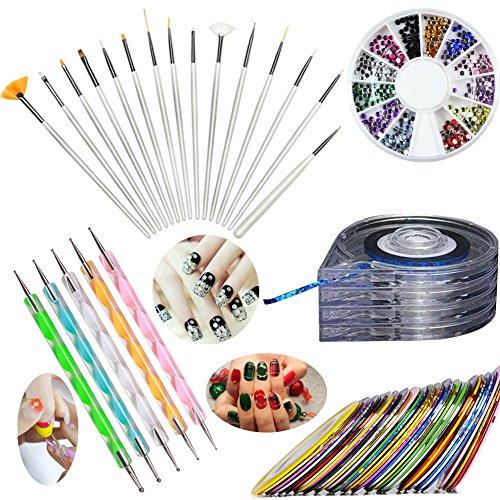 JOYJULY Nail Art Kit includes 30 Striping tape & 4 in 1 Striping Roller Box & 12 Colors Rhinestones & 5pcs Dotting Pen & 15pcs Brush Set