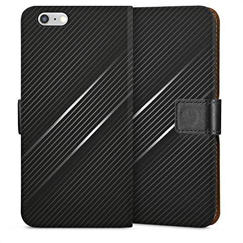 Apple iPhone 6 Housse Outdoor Étui militaire Coque Carbone Noir Look motif Sideflip Sac