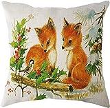 SHUCHANGLE (2pcs/Set) Kreativer Netter Fox-Baby-Kleiner Vogel-Muster-Leinenkissenbezug Passend Für Wohnzimmer-Sofa