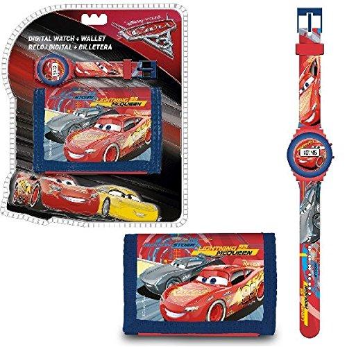 Disney Cars WD17955 Kinder Digital Armbanduhr und Geldbeutel, Lightning McQueen (Lightning Mcqueen Uhr)